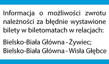 Informacja o możliwości zwrotu należności za błędnie wystawione bilety w biletomatach w relacjach: Bielsko-Biała Główna – Żywiec, Bielsko-Biała Główna – Wisła Głębce