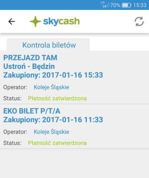 SkyCash - kontrola biletów