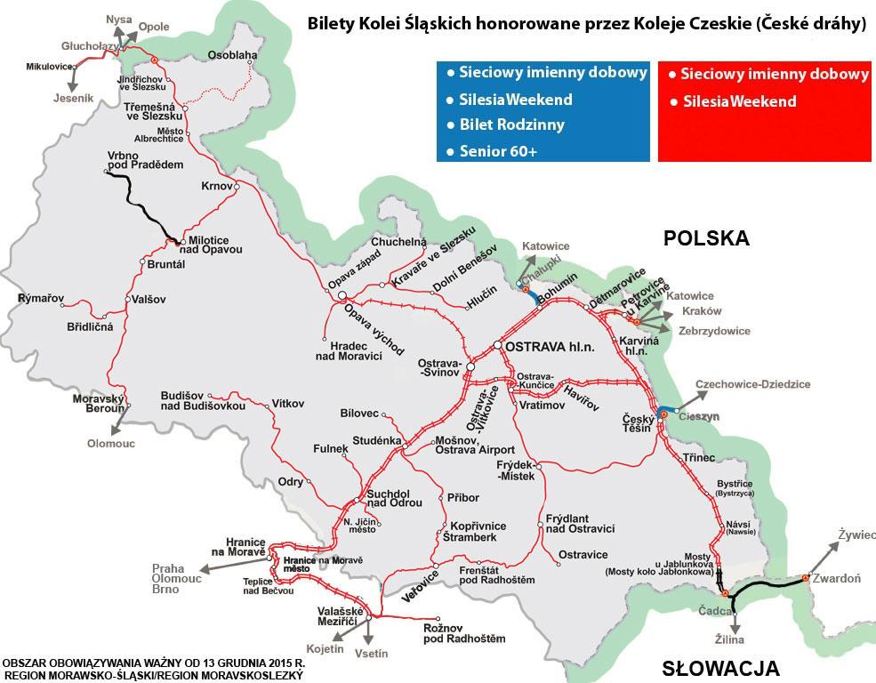 Obszar obowiązywania biletów KŚ w regionie morawsko-śląskim
